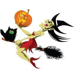 Witch and black cat vector image