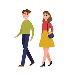 Young couple walking together cartoon characters vector