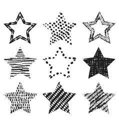 Set of hand-drawn textures star shapes vector