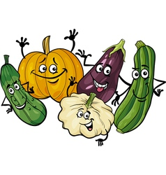 cucurbit vegetables group cartoon vector image