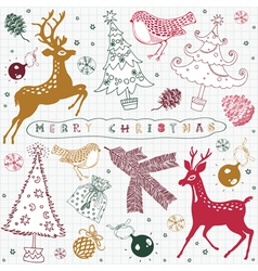 christmas card with bird and deer vector image