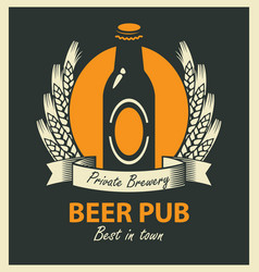 Emblem for beer pub with bottle and wheat ears vector