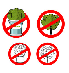 Stop spinach prohibited green leaf lettuce red vector