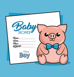 Baby shower card with pig vector