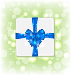 Gift box with blue bow for your party vector