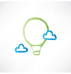 Balloon in the clouds icon vector