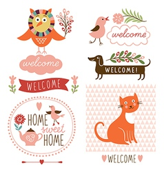 decor elements welcome home lettering vector image