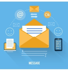 Envelope with message and email technology vector image