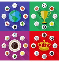 Set of nature sports food and drinks concepts vector