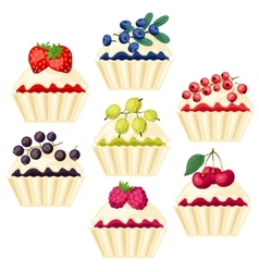 Set of cupcakes with various filling vector image