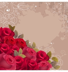 Beige background with realistic red roses vector image
