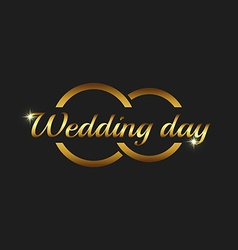 Wedding day greeting card mockup couple gold rings vector