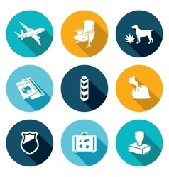 Airplane drug trafficking icons set vector