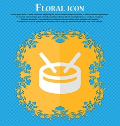 Drum floral flat design on a blue abstract vector