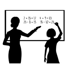 Silhouette of schoolgirl and teacher at blackboard vector
