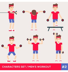 Men workout set2 vector