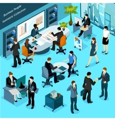 Business people isometric collection vector