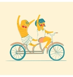 Two best friends ride on tandem bicycle vector