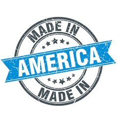 Made in america blue round vintage stamp vector