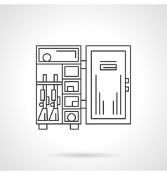 Armor box flat line icon vector