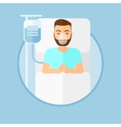 Patient lying in hospital bed with oxygen mask vector