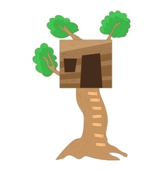Small tree house icon cartoon style vector