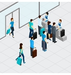Airport check in line vector