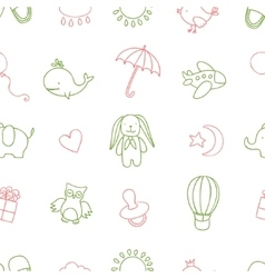 Baby shower related seamless pattern hand drawn vector