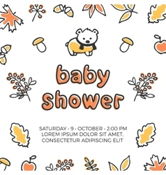 Baby shower template with cute doodle bear vector