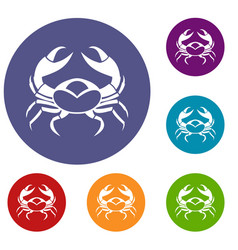 big crab icons set vector image vector image