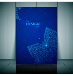 Blue business flayer template with indian ornament vector