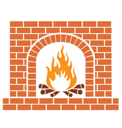brick fireplace vector image
