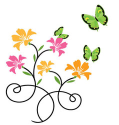 butterflies and flowers 9 vector image vector image