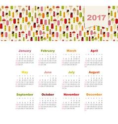 Calendar 2017 with ice cream week starts sunday vector