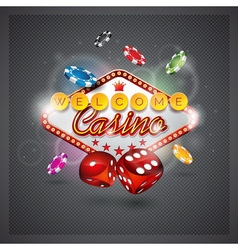casino with lighting display and dice vector image vector image
