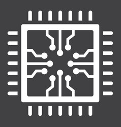 Chip solid icon circuit board and cpu vector