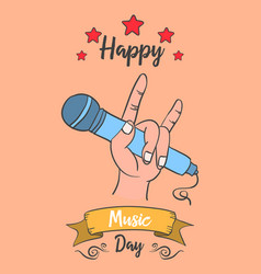 Collection stock of music day card vector