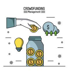 Crowfunding management infographic vector
