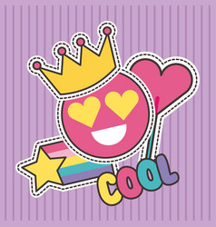 cute patches badge cool smile crown heart fashion vector image