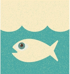 Fish Retro poster vector image