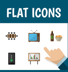 Flat icon lifestyle set of cellphone boardroom vector