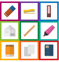 Flat icon stationery set of supplies notepaper vector