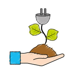hand with power cable plant with leaves and ground vector image