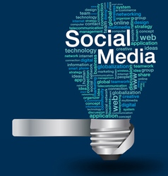 light bulb with social media concept of word cloud vector image
