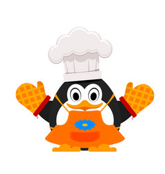 Little cute penguin cook abstract cartoon of a vector