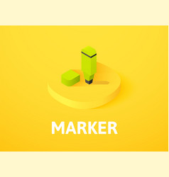 marker isometric icon isolated on color vector image