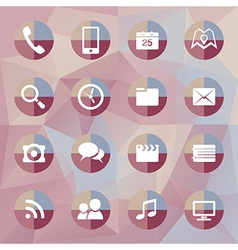 Mobile icons on polygonal background vector image vector image