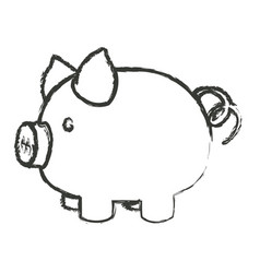Monochrome blurred silhouette of piggy bank vector