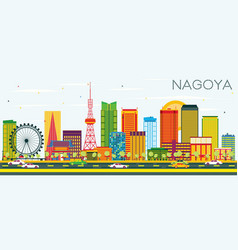 Nagoya skyline with color buildings and blue sky vector