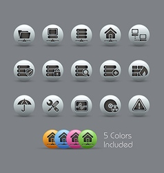 Network Server Icons Pearly Series vector image vector image